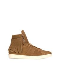 rotbraune hohe Sneakers aus Wildleder von Saint Laurent
