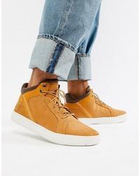 rotbraune hohe Sneakers aus Wildleder von Timberland