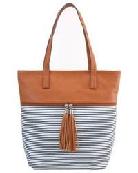 rotbraune horizontal gestreifte Shopper Tasche aus Leder von Anna Field