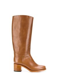 rotbraune kniehohe Stiefel aus Leder von A.P.C.
