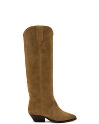 rotbraune kniehohe Stiefel aus Wildleder von Isabel Marant