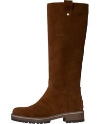 rotbraune kniehohe Stiefel aus Wildleder von Tommy Hilfiger