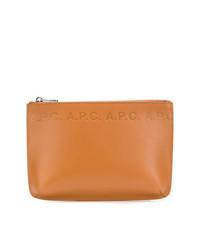 rotbraune Leder Clutch Handtasche von A.P.C.