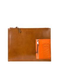 rotbraune Leder Clutch Handtasche von Maison Margiela