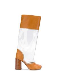 rotbraune Leder mittelalte Stiefel von MM6 MAISON MARGIELA