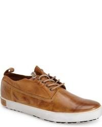 rotbraune Leder niedrige Sneakers