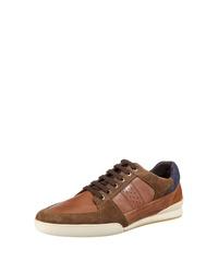 rotbraune Leder niedrige Sneakers von Geox