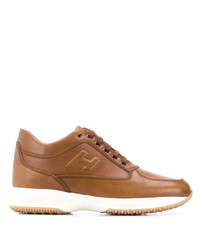 rotbraune Leder niedrige Sneakers von Hogan