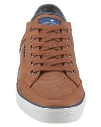 rotbraune Leder niedrige Sneakers von Tom Tailor