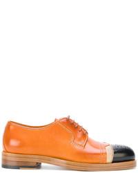 rotbraune Leder Oxford Schuhe von Maison Margiela