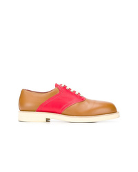 rotbraune Leder Oxford Schuhe von Marni