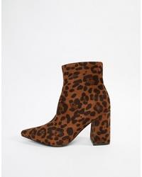 rotbraune Leder Stiefeletten mit Leopardenmuster von Public Desire
