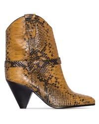 rotbraune Leder Stiefeletten mit Schlangenmuster von Isabel Marant