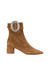 rotbraune Leder Stiefeletten von Saint Laurent