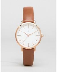 rotbraune Leder Uhr von Asos