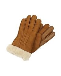 rotbraune Lederhandschuhe von UGG