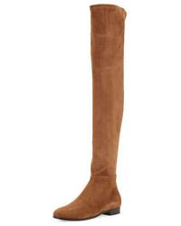 rotbraune Overknee Stiefel aus Wildleder