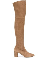 rotbraune Overknee Stiefel aus Wildleder von Casadei