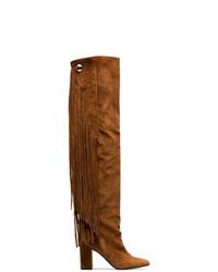 rotbraune Overknee Stiefel aus Wildleder von Chloé