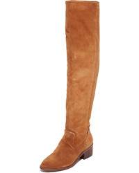 rotbraune Overknee Stiefel aus Wildleder von Dolce Vita