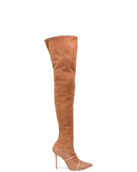 rotbraune Overknee Stiefel aus Wildleder von MALONE SOULIERS BY ROY LUWOLT