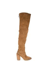 rotbraune Overknee Stiefel aus Wildleder von Marsèll