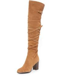 rotbraune Overknee Stiefel aus Wildleder von Sam Edelman