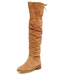 rotbraune Overknee Stiefel aus Wildleder von See by Chloe