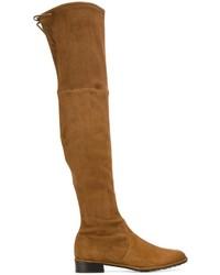 rotbraune Overknee Stiefel aus Wildleder von Stuart Weitzman