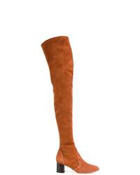 rotbraune Overknee Stiefel aus Wildleder von Vanessa Seward