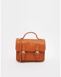 rotbraune Satchel-Tasche aus Leder von Asos
