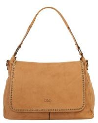 rotbraune Satchel-Tasche aus Leder von CLUTY