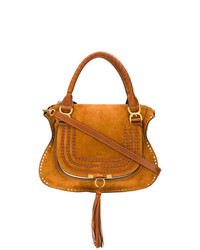rotbraune Satchel-Tasche aus Wildleder von Chloé