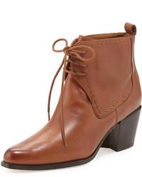 rotbraune Schnürstiefeletten aus Leder