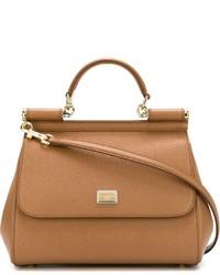 rotbraune Shopper Tasche aus Leder von Dolce & Gabbana