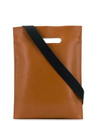 rotbraune Shopper Tasche aus Leder von MM6 MAISON MARGIELA