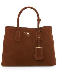 rotbraune Shopper Tasche aus Wildleder