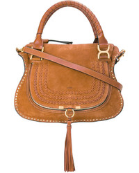 rotbraune Shopper Tasche aus Wildleder von Chloé