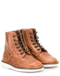rotbraune Stiefel aus Leder von Pépé