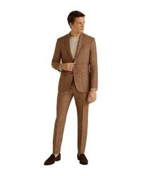 rotbraune vertikal gestreifte Leinen Anzughose von Mango Man