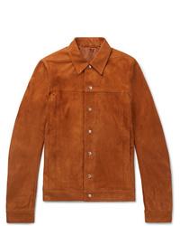 rotbraune Shirtjacke aus Wildleder von Rick Owens