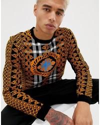 rotbrauner bedruckter Pullover mit einem Rundhalsausschnitt von ASOS DESIGN