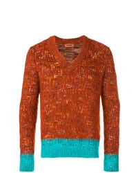 rotbrauner bedruckter Pullover mit einem V-Ausschnitt von Missoni