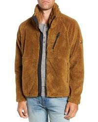 rotbrauner Fleece-Pullover mit einem Reißverschluß