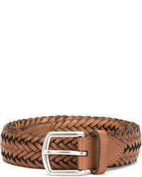 rotbrauner geflochtener Ledergürtel von Polo Ralph Lauren