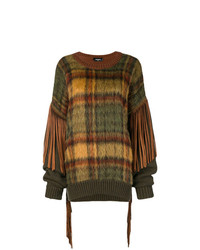 rotbrauner Oversize Pullover mit Schottenmuster von Dsquared2