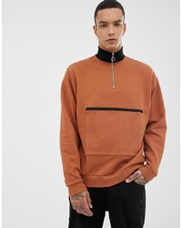 rotbrauner Pullover mit einem Reißverschluss am Kragen von ASOS DESIGN