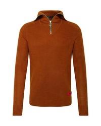 rotbrauner Pullover mit einem Reißverschluss am Kragen von Scotch & Soda