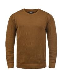 rotbrauner Pullover mit einem Rundhalsausschnitt von Solid