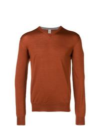 rotbrauner Pullover mit einem V-Ausschnitt von Eleventy